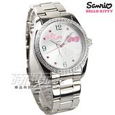 HELLO KITTY 凱蒂貓 時尚晶鑽粉童趣卡通腕錶 銀色 不銹鋼 日常防水 女錶 學生錶 LK691LWWA-S