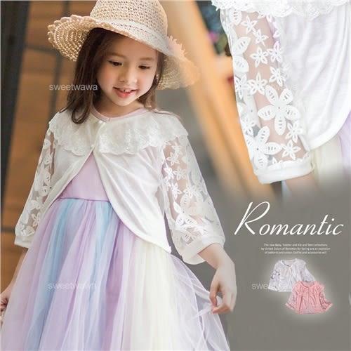 波浪織花領微透雪紡袖外套小罩衫~搭禮服洋裝(250144)★水娃娃時尚童裝★