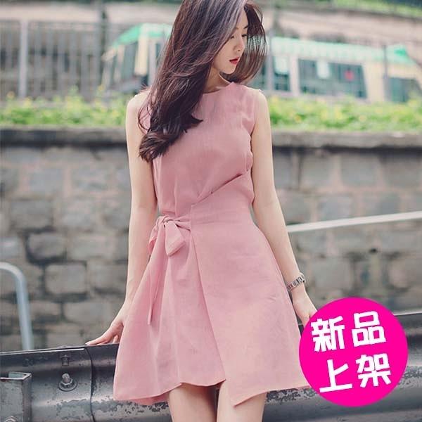 【售完不補】【3962-0529】夏季新款甜美時尚系带不規則款A字連衣裙(S-XL)