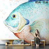 電視背景墻北歐手繪大魚海棠可愛兒童房客廳電視背景墻紙沙發無妨壁紙壁畫布   汪喵百貨