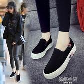 2021年春季新款百搭帆布鞋女鞋一腳蹬學生韓版黑色休閑懶人布鞋子