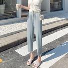 九分褲 直筒褲女春夏季休閒新薄款七分冰絲垂感寬鬆寬管奶奶九分褲子-Ballet朵朵
