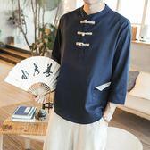 秋季新款中國風男裝亞麻料T恤中式盤扣復古上衣服棉麻布純色t桖潮