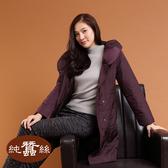 【岱妮蠶絲】極輕量舖蠶絲長版外套(暗紅)