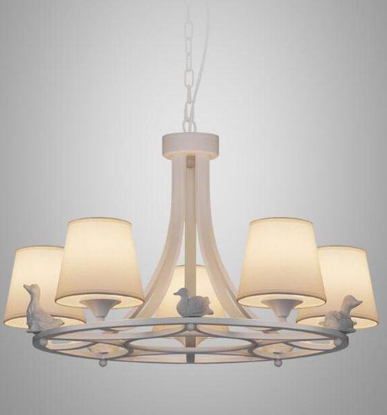 美術燈 北歐客廳書房客廳歐式美式田園餐廳麻布五燈小鴨子吊燈 -不含光源