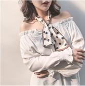 小絲巾長條細窄裝飾長款韓國百搭春秋ins女士時尚波點小領巾領帶    東川崎町