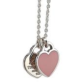 【奢華時尚】Tiffany 心心相映迷你吊牌墜飾925純銀粉紅瓷項鍊