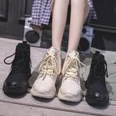 黑色馬丁靴女秋款2019新款厚底英倫風薄款機車單靴短靴子秋冬女鞋  免運快速出貨