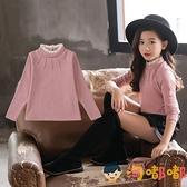 女童打底衫款韓版高領長袖t恤秋冬款兒童上衣【淘嘟嘟】