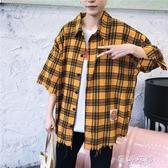 格紋襯衫男士港風條紋襯衫長袖襯衣七分袖情侶韓版潮流小清新格子外套 蓓娜衣都