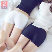 安全褲 2條裝內搭褲防走光女短褲冰絲無痕莫代爾白色蕾絲保險打底褲 mc4745『M&G大尺碼』