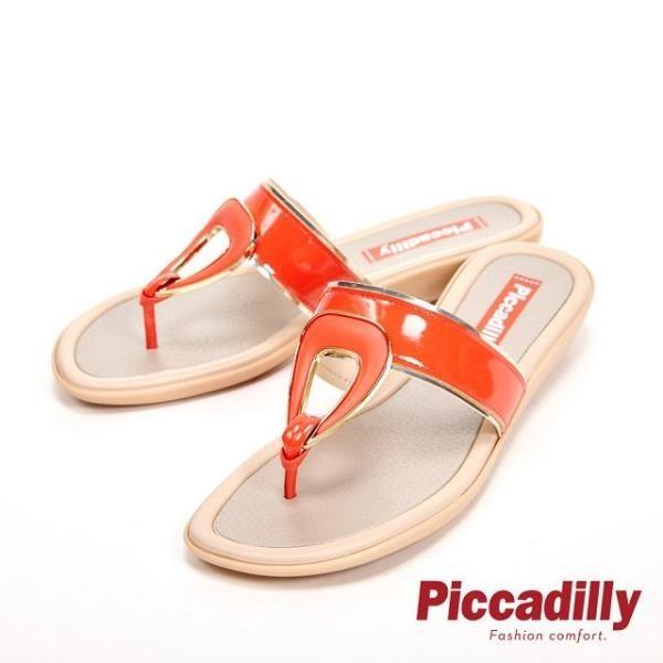 【南紡購物中心】Piccadilly 輕量舒適平底夾腳拖鞋 女鞋-橘紅(另有湖水綠、黑)
