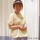 「Summer」荷葉摺邊雙蝴蝶結設計短袖上衣 (提醒 SM2僅單一尺寸) - Sm2