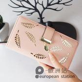 手拿包/長款錢包女葉子拉鍊搭扣錢夾「歐洲站」