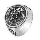 《 QBOX 》FASHION 飾品【NKR0974】精緻個性歐美復古圓形狼頭圖騰鑄造鈦鋼戒指/戒環