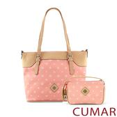 CUMAR logo印花托特包-粉色(贈送小包)