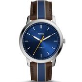 【台南 時代鐘錶 FOSSIL】FS5554 極簡主義 金屬色彩大三針簡約風格手錶 皮帶 藍 44mm