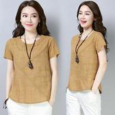 夏季短款t恤衫文藝復古圓領短袖純色百搭寬鬆顯瘦棉麻上衣