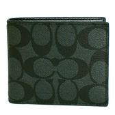 【COACH】經典C LOGO PVC防刮皮革 8卡對折輕便短夾附活動證件夾(黑灰)