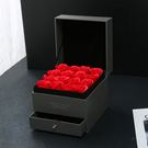 玫瑰禮盒 雙層驚喜抽屜盒玫瑰花盒口紅香皂花禮盒 情人節銀飾項?首飾盒 都市韓衣