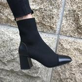 襪靴馬丁靴女潮高跟冬款粗跟短靴針織彈力靴2019新款襪子鞋百搭瘦瘦靴 聖誕交換禮物
