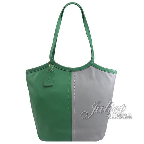 茱麗葉精品【專櫃款 全新現貨】COACH C2594 Bea Tote 拼色牛皮素雅肩背包.灰/綠