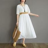 短袖連身裙-圓領休閒寬鬆高腰女洋裝2色73xz3[巴黎精品]