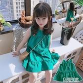 夏季新款 兒童寬鬆無袖寶寶背心裙 女童氣質純色系扣洋裝