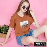 【JEEP】女裝 復古闊葉圖騰短袖TEE-棕