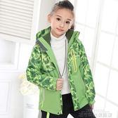 衝鋒衣 戶外兒童沖鋒衣男女款兩件套三合一迷彩服防風防水登山服綠色 城市科技 DF