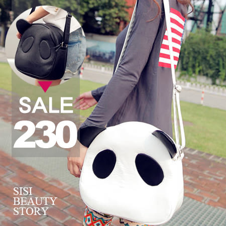 SISI【B4011】日系時尚可愛卡通熊貓包/單肩包/斜跨包/女包/