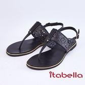 itabella.舒適牛皮幾何夾腳涼鞋(9314-90黑色)