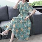 真絲連衣裙2021夏季新款洋氣時尚氣質減齡收腰顯瘦碎花桑蠶絲裙 快速出貨
