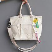 斜背包 多口袋 釦環 手提包 帆布包 環保購物袋-手提/單肩/斜背包【AL222】 icoca  09/20