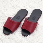 【333家居鞋館】靜音防滑 優雅室內皮拖鞋-紅