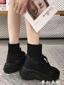 襪子鞋 運動鞋女春季新款網紅襪子鞋韓版潮流內增高厚底百搭高筒鞋子 夢幻衣都