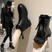 網紅馬丁靴女冬后雙拉鏈短款短筒百搭加絨加厚防滑保暖顯瘦短靴子【小艾新品】