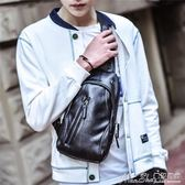 運動腰包新款休閒胸包男韓版腰包皮質小包包男士斜背包 曼莎時尚