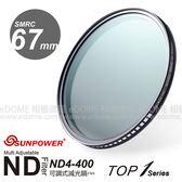 SUNPOWER 67mm TOP1 ND4-400 可調式減光鏡 (24期0利率 免運 湧蓮國際公司貨) ND4-ND400