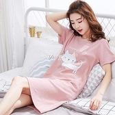 睡裙女夏女士短袖睡衣女夏女學生韓版寬鬆休閒可愛家居服