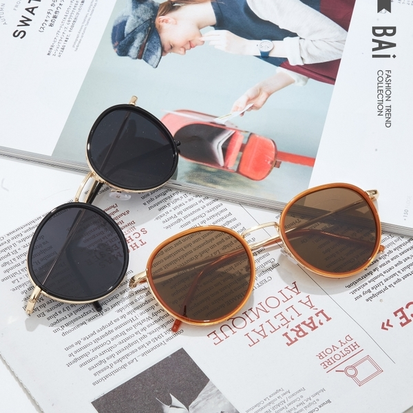 墨鏡 復古金邊小圓框太陽眼鏡(附眼鏡盒)-BAi白媽媽【306165】