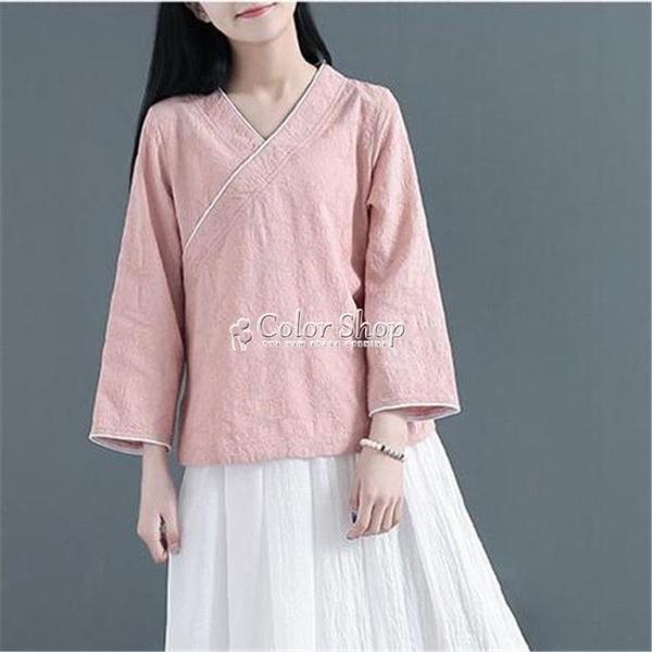 夏新款女裝復古文藝中式斜襟棉麻襯衫短袖襯衣寬鬆休閒茶服上衣 快速出貨