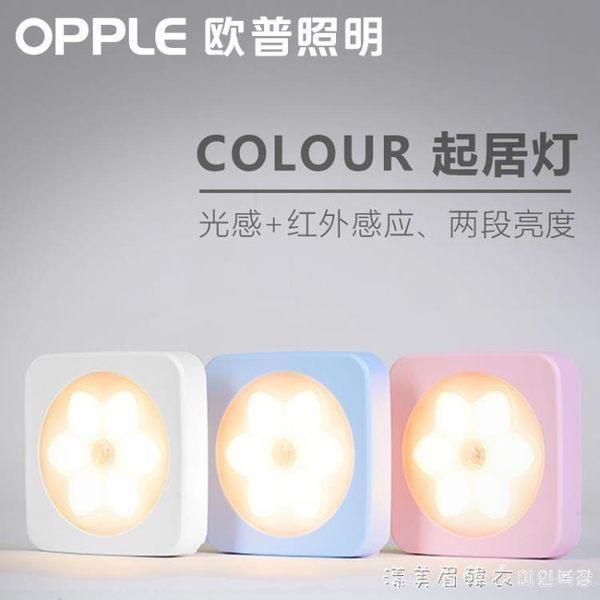 歐普照明led小夜燈人體感應燈插電電池喂奶燈創意迷你過道衣柜燈 漾美眉韓衣
