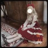 洛麗塔Lolita泡芙人偶op蕾絲花邊長袖日常連身裙【橘社小鎮】