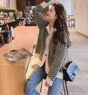 VK精品服飾 韓國慵懶風復古格紋針織單品外套