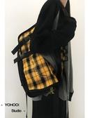 斜背包ins酷帥簡約純色百搭斜背包帆布側背學生書包男女 雙11 伊蘿