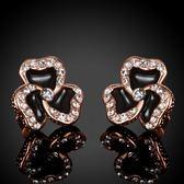 耳環 純銀鍍18K金鑲鑽-三葉草時尚生日聖誕節禮物女飾品3色73cg8【時尚巴黎】