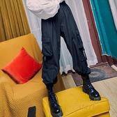 黑色工裝褲女束腳褲潮高腰哈倫褲bf寬松嘻哈運動褲子【繁星小鎮】