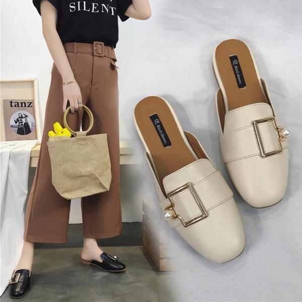 半拖鞋女外穿2019新款韓版時尚方頭穆勒鞋平底粗跟包頭懶人女涼拖 金曼麗莎