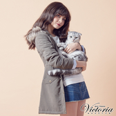 Victoria 軍裝風格長版舖棉外套-女-軍綠-V4515148